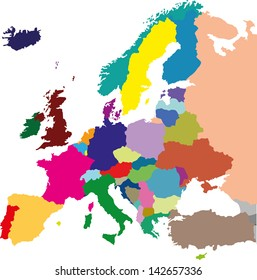European colored political map