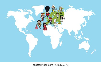 European continent cartoon people with distinctive clothing. Vector illustration layered for easy editing.