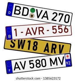 European countries car license plate registration numbers. France, German, UK and Belgium
