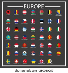 European countries circle flags - vector icons set