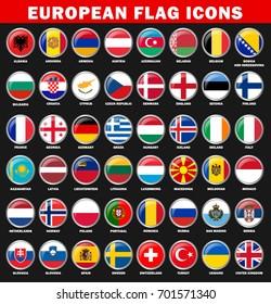 European Countries Flag Icons Vector