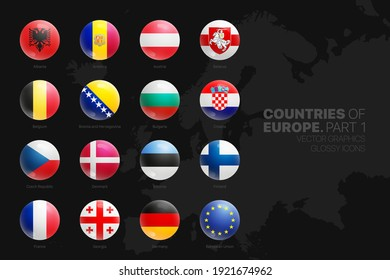 European Countries Flags Vector 3D Glossy Icons Set Isolated On Black Background Part 1. Official National Flags Of Europe Vivid Bright Color Bulging Convex Round Buttons Design Elements Collection