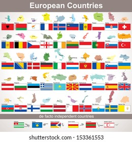 European Countries with Flags. Vector Collection for Your Design