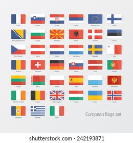 European countries flat flags set
