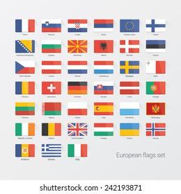 European countries flat flags set
