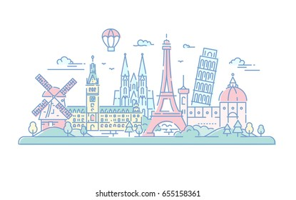 European countries - modern vector line travel illustration. Destination scenic for postcard, banner, leaflet. . World famous landmarks - Eiffel tower, the tower of Pisa, Florence cathedral