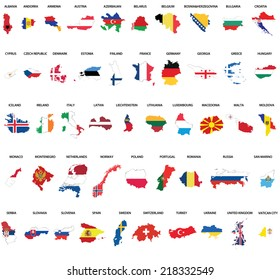European country maps combination with flags