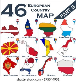 European country set with map pointers - Part 3