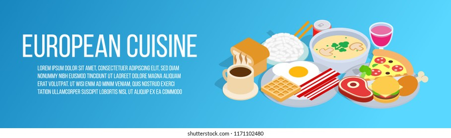 European cuisine concept banner. Isometric banner of european cuisine vector concept for web, giftcard and postcard