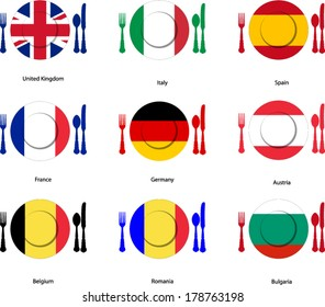 European cuisine flags on dishes with cutlery