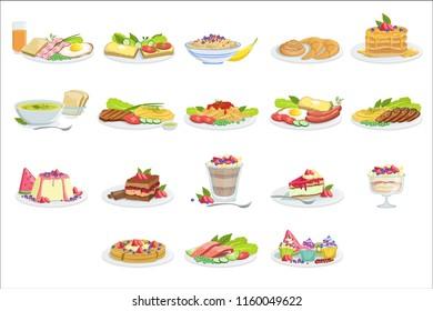 European Cuisine Food Assortment Menu Items Detailed Illustrations
