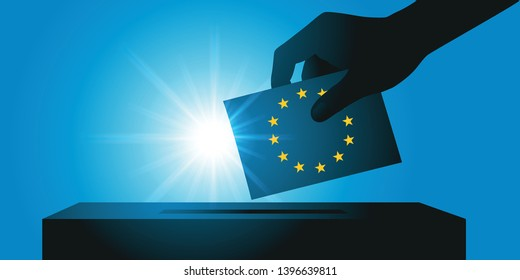 European elections concept with the hand of an elector holding his ballot paper in the colors of the European flag, before sliding it into the ballot box.