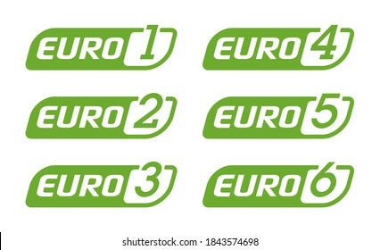 European emission standards stickers set - EURO 1, euro 2, 3, 4, 5 and 6 - acceptable limits for exhaust emissions of new vehicles sold in the European Union and EEA member states