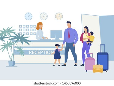 European Family with Young Children Traveling with Their Suitcases on Business Trip Abroad. They are Suitable to Receive.  Poster Husband and Wife are Registered at Hotel Reception.