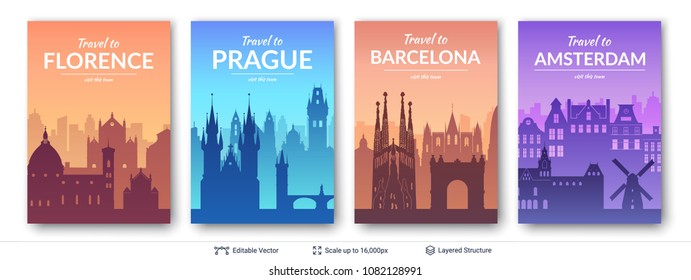 European famous city scapes set. Flat well known silhouettes. Vector illustration easy to edit for flyers or web banners.