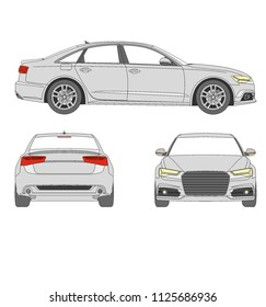 European fast race and luxury car , audi A6. frontview, sideview and backview vector.