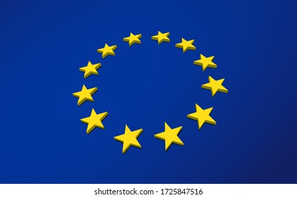 European Flag Banner with dimensional perspective view of the star circle and blue background