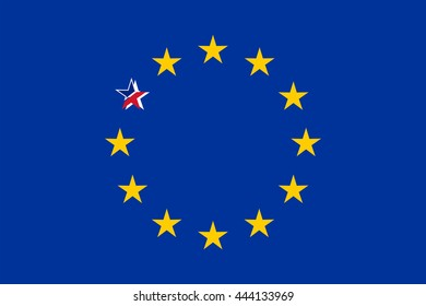 European Flag With Broken British Star Vector Illustration