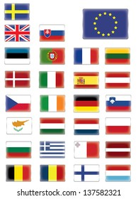 European flags buttons