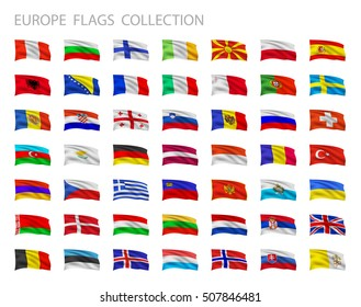 European flags collection. Vector set illustration.