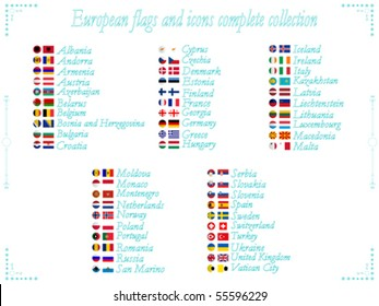 european flags and icons collection in alphabetical order, abstract vector art illustration
