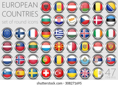 European Flags. Metal Round Icons. This is File from the Collection European Flags. 47 Items