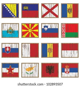 european flags on wooden plaques, isolated on white, set 3