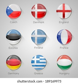 European flags set glossy buttons with long shadows. Vector illustration. Part 2