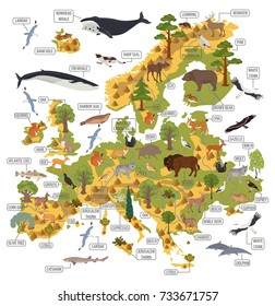 European flora and fauna map isolated on white. Build your own geography infographics collection. Vector illustration