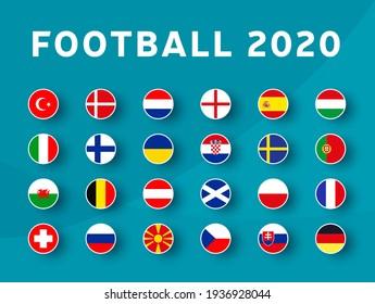 European football 2020 tournament flag set. Euro 2020 Vector country flag set for soccer championship.