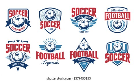 European football classic emblems vector set.