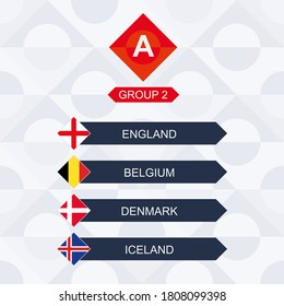 European Football Competition, Participants of League A and Group 2: England, Belgium, Denmark, Iceland.