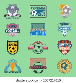 European football soccer lable vector embleme template team school design championship elements. Tournament icon football symbol. Team badge sport competition