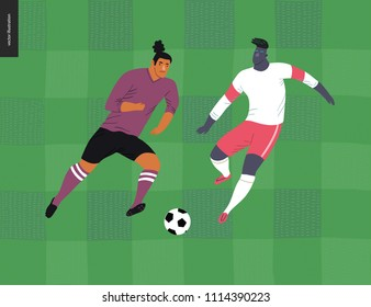 European football, soccer players - flat vector illustration of a young men wearing european football player equipment kicking a soccer ball on the background of green grass checked football field