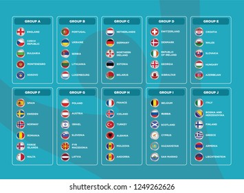 European football tournament qualification groups. 2020 European soccer tournament. Vector country flags.