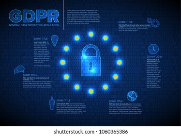 European GDPR concept flyer infographic template illustration - dark blue version