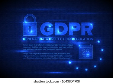 European GDPR concept flyer template illustration - dark blue version
