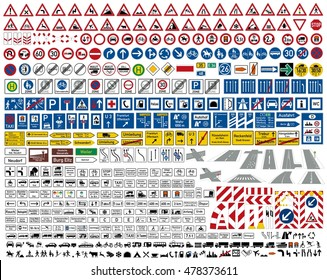 european german road traffic sign vector collection set