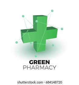 European green cross pharmacy store sign. Vector illustration in 3d style. Logo for apps and websites. Classic medical sign with nano particles.