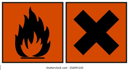 European hazard symbols. Harmful and Extremely Flammable icon symbol one orange background. For chemicals are pictograms defined by the European community. labeling CLP/GHS classification.