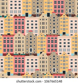 european houses. seamless pattern