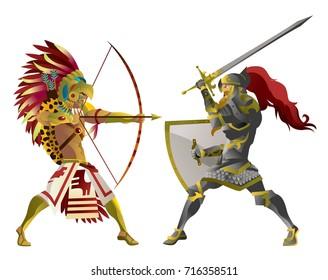 european knight fighting an aztec warrior