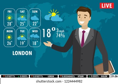 European male news anchor tells weather forecast on tv,flat vector illustration