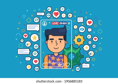 European male streamer flat color vector character. Vlogger recording live stream isolated cartoon illustration. Web graphic design on blue background