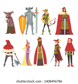 European Medieval Characters Set, Old Witch, Knight, Archer, King, Princess, Executioner, People in Historical Costumes Vector Illustration