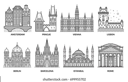 European monuments and landmarks. Europe travel destinations with famous buildings and tourist attractions in line art design. Top cities including Barcelona, Vienna, Istanbul, Berlin, Rome and more.