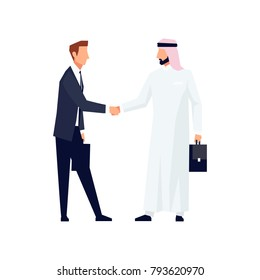 European and Muslim businessmen shake hands. Businessmen came to an agreement and completed the deal with a handshake. Template for banner or infographics. Vector illustration.
