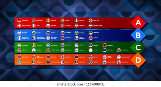 European nations football. League of European countries. Soccer tournament. Vector country flags.