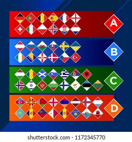 European nations football. League of European countries. Soccer tournament. Vector country flags. Nations groups.