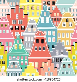 European old houses - seamless pattern. Colorful fun design for textile, wallpaper, background. German, Netherlands style historical buildings. 100% Vector illustration.